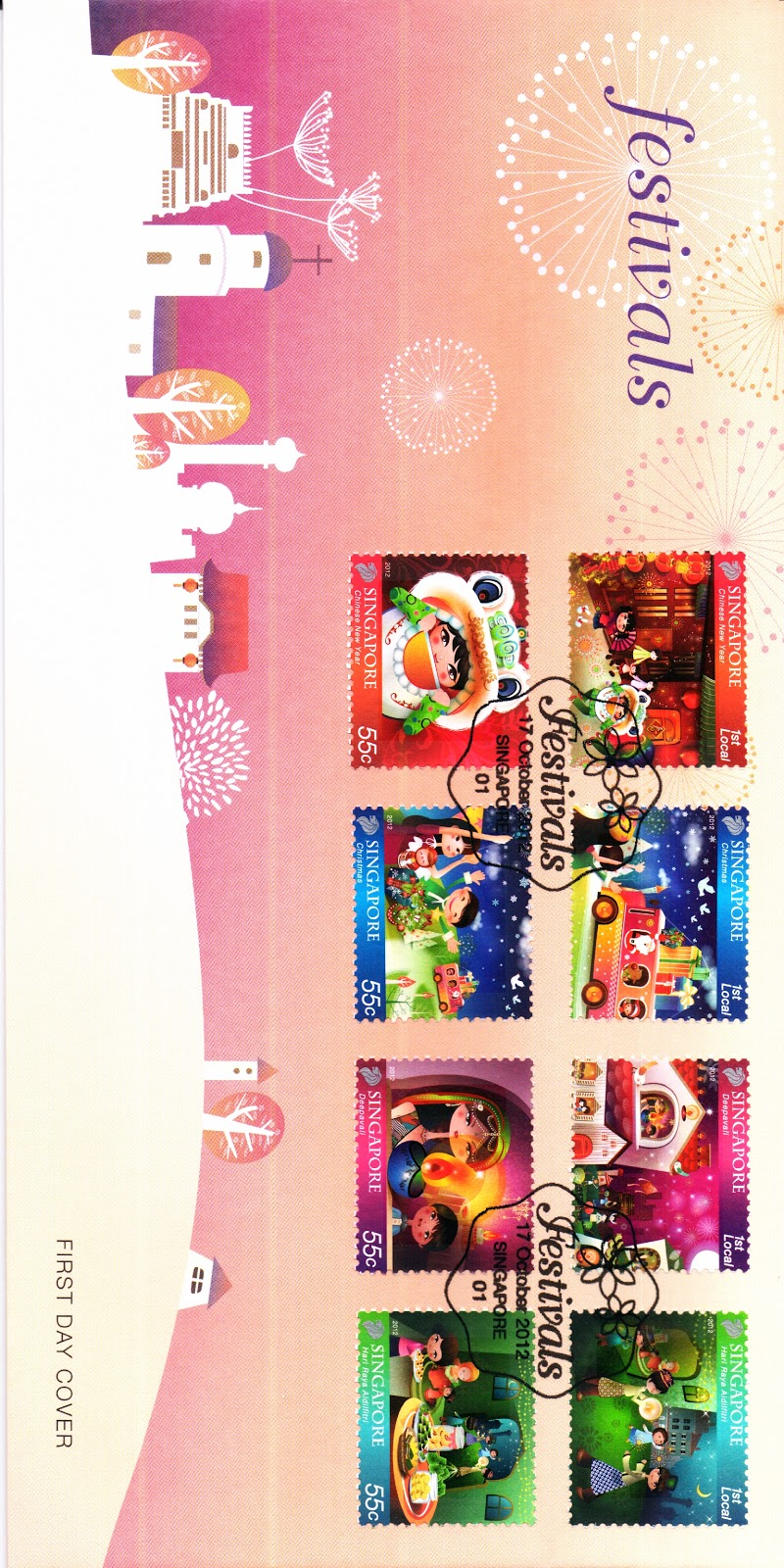 Pre-cancelled First Day Cover affixed with stamps S$4.10*