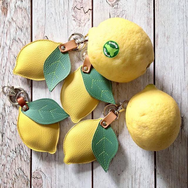 Portachiavi limoni realizzati in pelle ecologica e cuoio