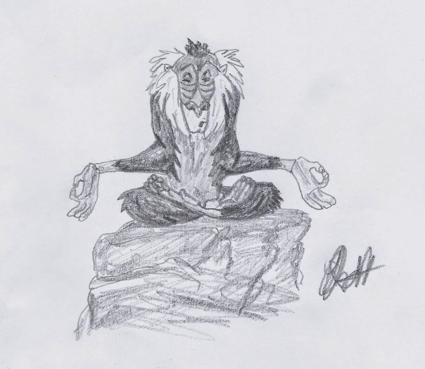 Rafiki from The Lion King, sketch by Jo Linsdell