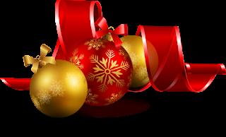bolas e fitas de natal png