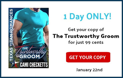 The Trustworthy Groom by Cami Checketts Hailey Knight has two choices: fall prey to a predator who is out to own her and destroy her football team, or marry a man she's just met. True, her fake husband can make her quiver with a touch, gets her jokes, and is patience personified, but she knows better than anyone how quickly charm can turn ugly. Brady Giles has dealt with a sweetheart stalker for two years and has no hope of shaking the annoyance. He steps in to rescue the beautiful and feisty Hailey Knight from a leering idiot and somehow ends up engaged to her. The marriage is supposed to help them both out of sticky situations, but instead turns into a media hailstorm with lies and attacks coming from all sides. When Hailey falls in love with her fake husband and danger lurks around every corner, she knows it's time to run, but Brady has never given up on an impossible battle.