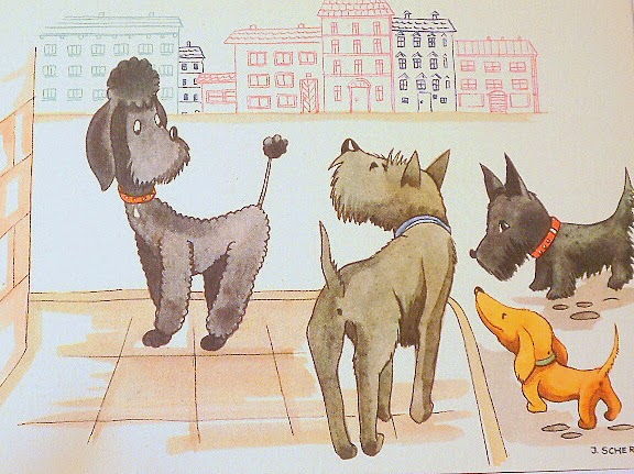 Vintage illustration of cute dogs on a post card