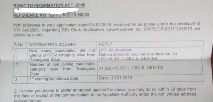 SBI Clerk Waiting List 2019 Released Date Out Check Details - Kalvisolai