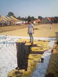 IBW 2016 Goa, Mountain Dew, 3D street Artist in Goa, 3D chalk painter Goa, India Bike Week 2016 Goa, IBW 2016 Goa