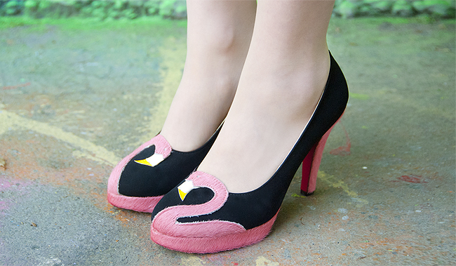 flamingo shoes, Madame Flamingo, handmade heels