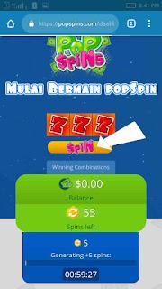 Sekali main PopSpins dapat $2.50 dollar