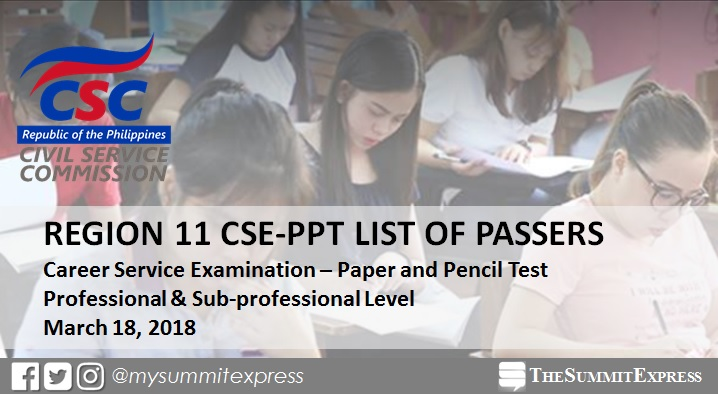 Region 11 Passers: Civil Service Exam results March 2018 CSE-PPT