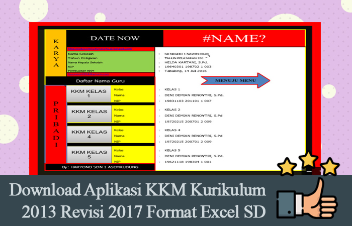 Download Aplikasi KKM Kurikulum 2013 Revisi 2017 Format Excel SD