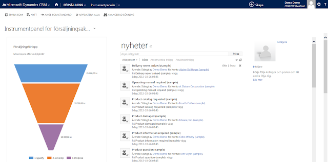 New features of CRM 2013 Online and now in Swedish!