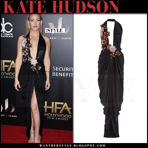 Kate Hudson in black plunging gown with flower corsages marchesa what she wore red carpet