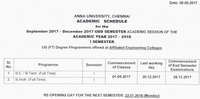 Anna University Academic Schedule September to December 2017 First Semester R2017