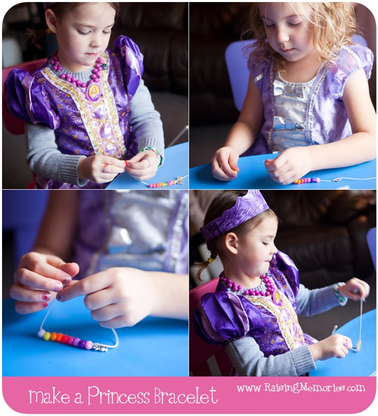 DIY Princess Party Bracelets at www.RaisingMemories.com