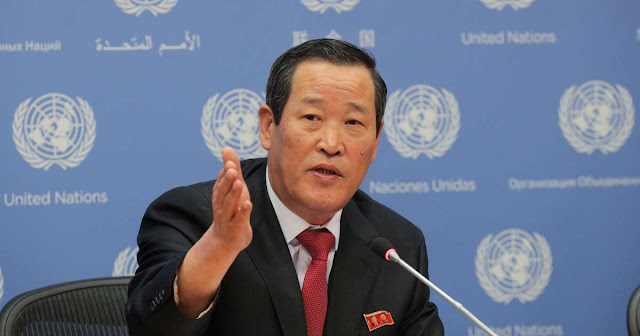 Image Attribute: North Korea's UN ambassador Kim Song speaks to reporters at the world body's headquarters in New York / Date: May 21, 2019,/ Source:  Brendan McDermid/Reuters