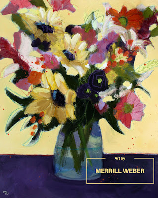 Original mixed media floral painting in acrylic, pastel and graphite by Merrill Weber