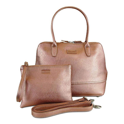 Handbag in Rose Gold, with a matching clutch bag and shoulder strap