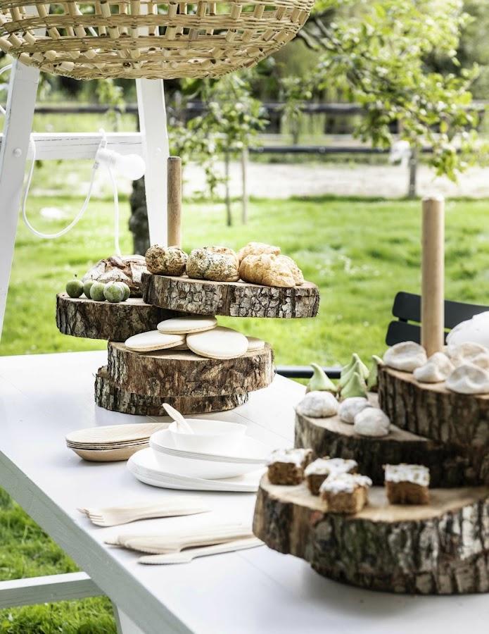 diy bandejas troncos madera fiesta verano