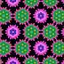 Abstracte wallpaper met roze en groene bloemen