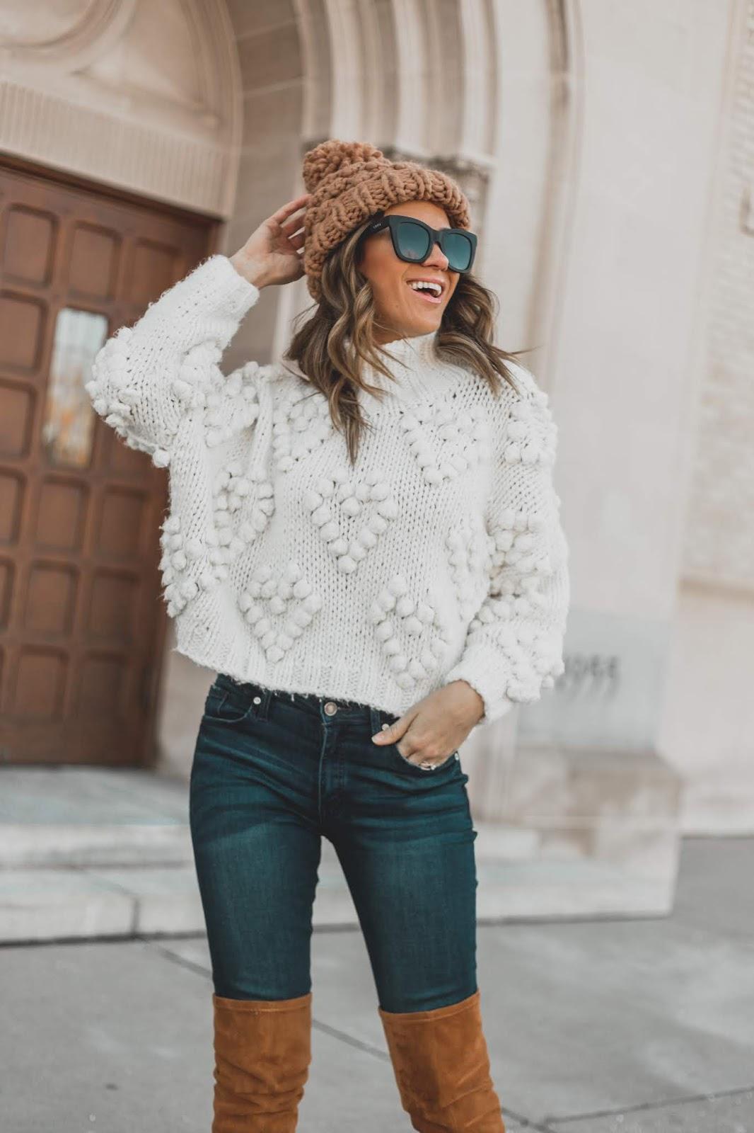 Knit Pom Beanie With Dressy Sweater