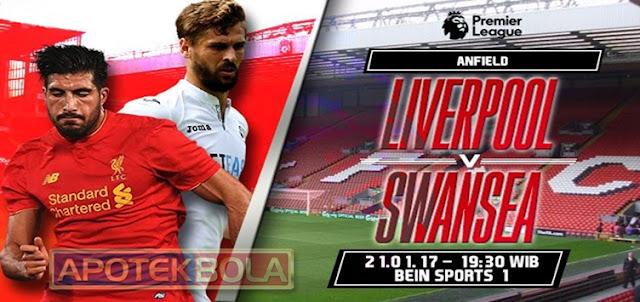 Prediksi Pertandingan Liverpool vs Swansea City 21 Januari 2017