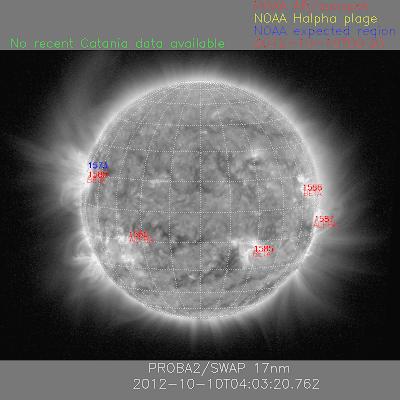 Manchas solares activas, 10 de Octubre 2012