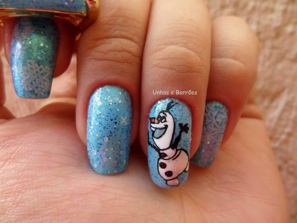 Unhas e Borrões: Unhas Artísticas Elsa e Olaf (Frozen Nail Art)