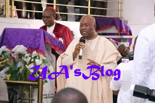"""""""You can't embarrass my wife for talking politics in church"""" – Sen. Akpabio criticizes Bishop for scolding his wife during church service"""
