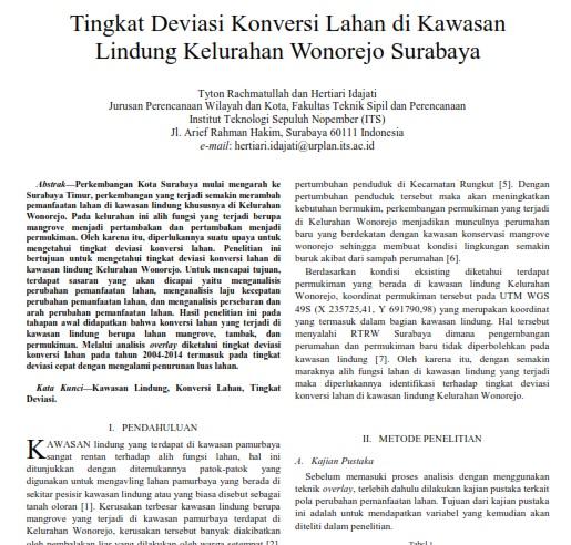 Tingkat Deviasi Konversi Lahan Di Kawasan Lindung Kelurahan Wonorejo Surabaya [Paper]