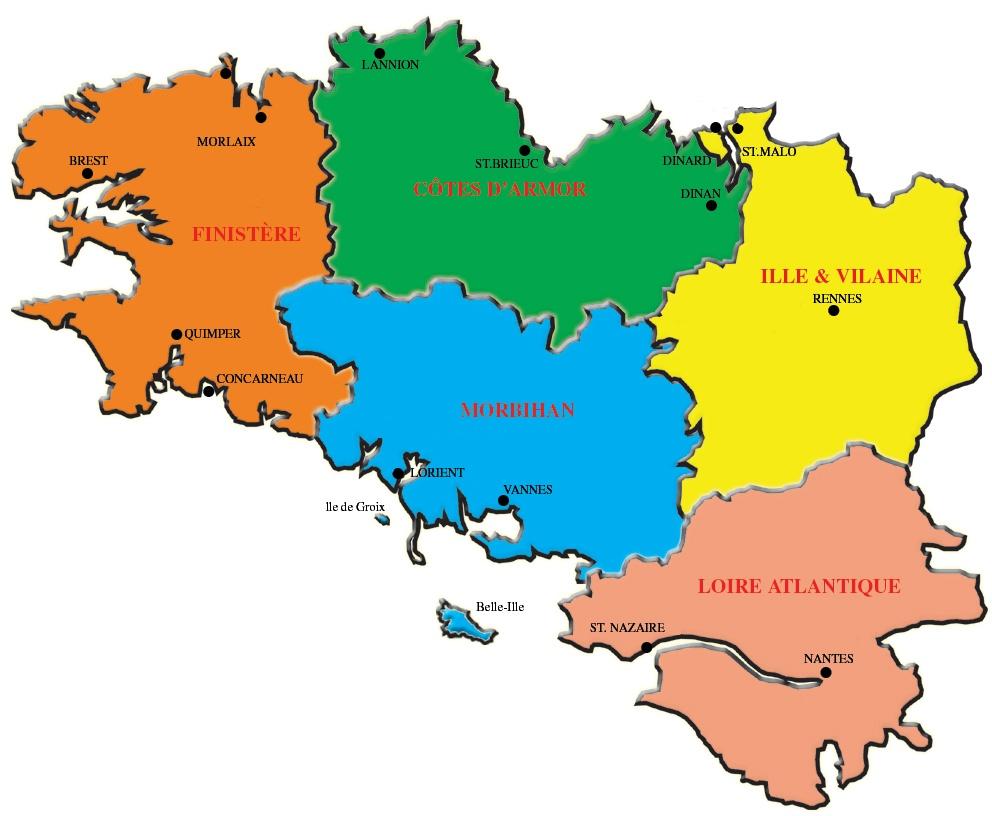 Carte de Bretagne Département Région   Carte France ...