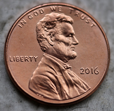 Obverse of 2016 Shield Cent, Lincoln, date