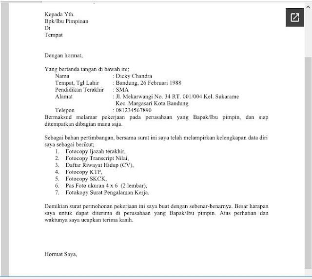 Download Contoh Surat Lambaran Kerja Umum Format Doc Ms Word