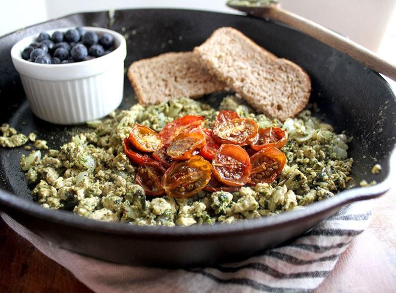 Pesto Tofu Scramble With Roasted Tomatoes image