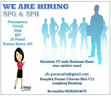 Lowongan Kerja SPG & SPB YFC Group Bandung Januari 2018