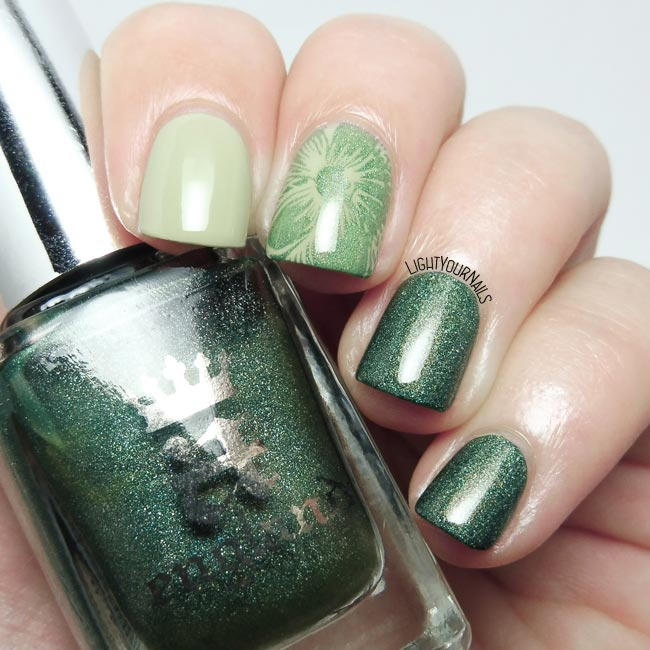 Green skittlette manicure feat. Essie, A-England and MoYou Nails