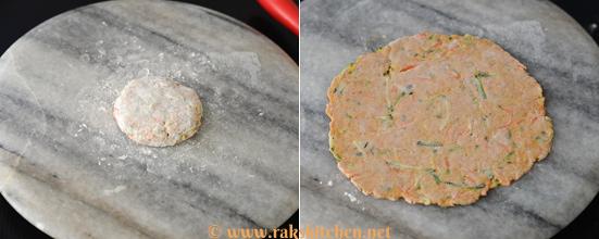 Zucchini carrot paratha preparation 3