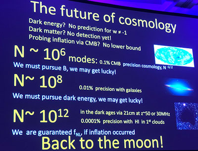 Joseph Silk explains need for higher resolution and measuring from the moon  (Source: 233rd AAS meeting in Seattle)