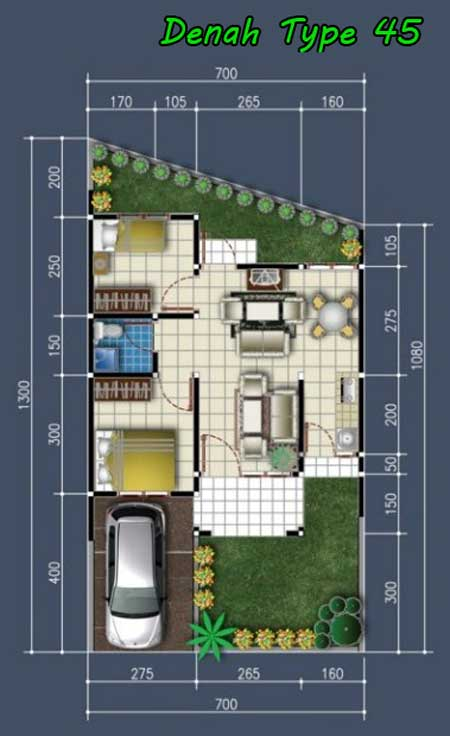 contoh denah rumah type 45 tanah miring