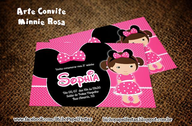 Arte Convite Minnie Rosa