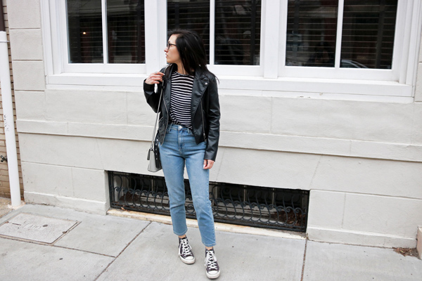 Casual, street style, Outfit, Leather Jacket, Mom Jeans, Striped shirt