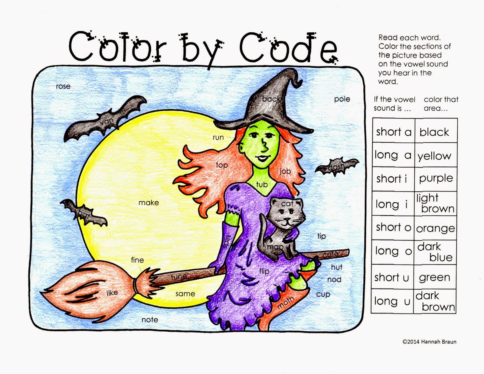 Classroom Freebies Too Halloween Color By Code