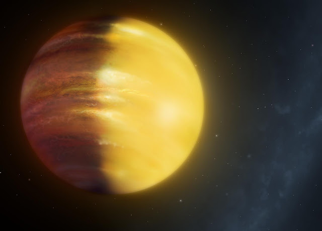 Winds of rubies and sapphires strike the sky of giant planet