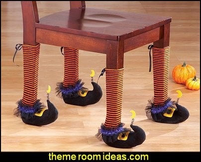 Set of 4 Cute Witch Chair Leg Covers Orange Black Stripe Halloween Decoration