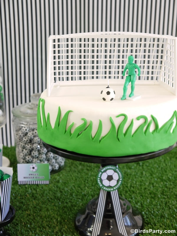 Soccer Football DIY Birthday Party Cake - BirdsParty.com