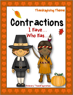 This Thanksgiving I Have Who Has contractions  game is a fun way to review that important skill with your students in November.