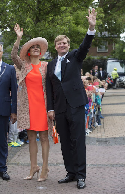 Queen Maxima visit the north west region of Friesland (Noardwest Fryslan). Queen Maxima Natan Dress, New Season, new Collection summer dress