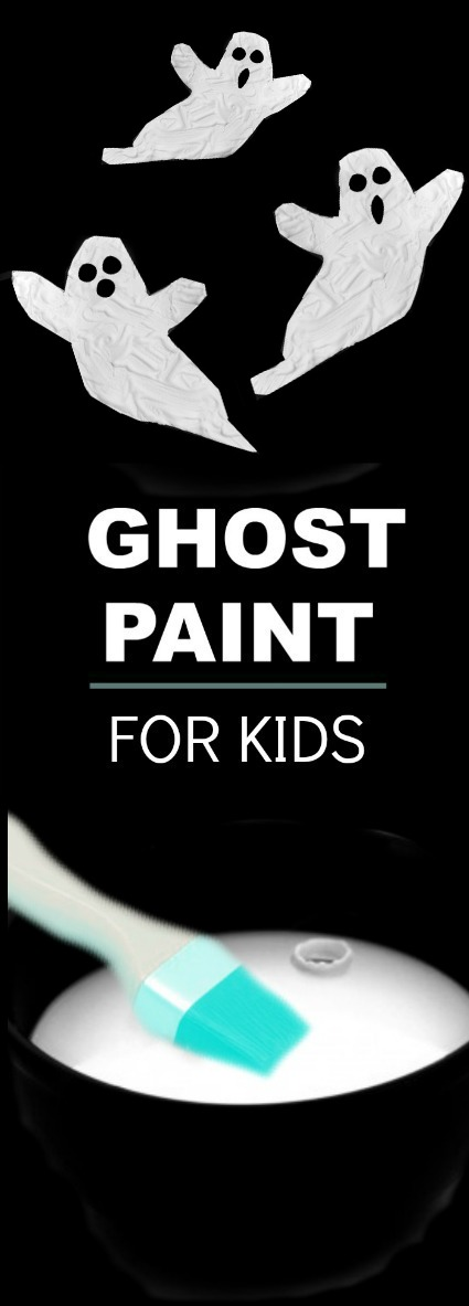 "GHOST PAINT: Icy-cold paint for kids that dries puffy & raised!  ""SO COOL""  #Halloweencraftsforkids #craftsforkids #playrecipes"