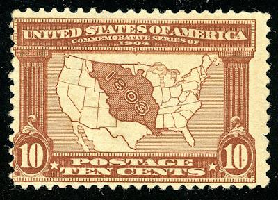 US Scott #327 Louisiana Purchase-10¢ Map of Purchase