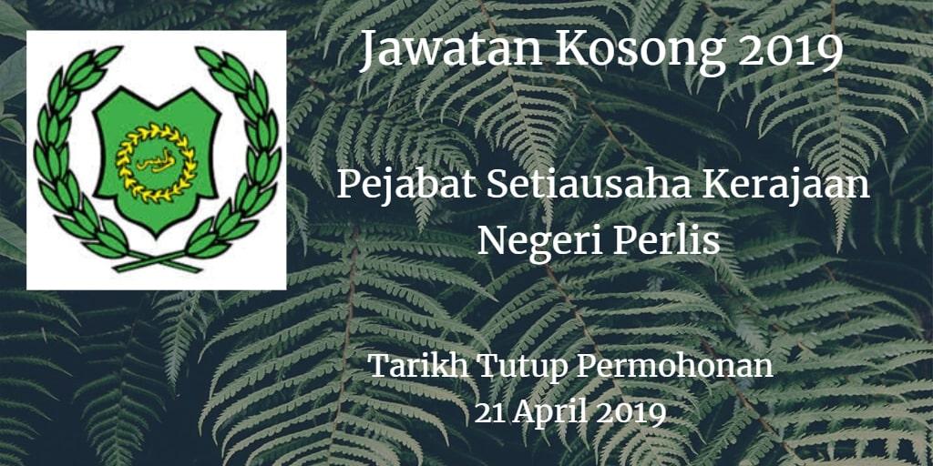 Jawatan Kosong Pejabat Setiausaha Kerajaan Negeri Perlis 21 April 2019