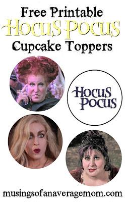 free Hocus Pocus cupcake toppers