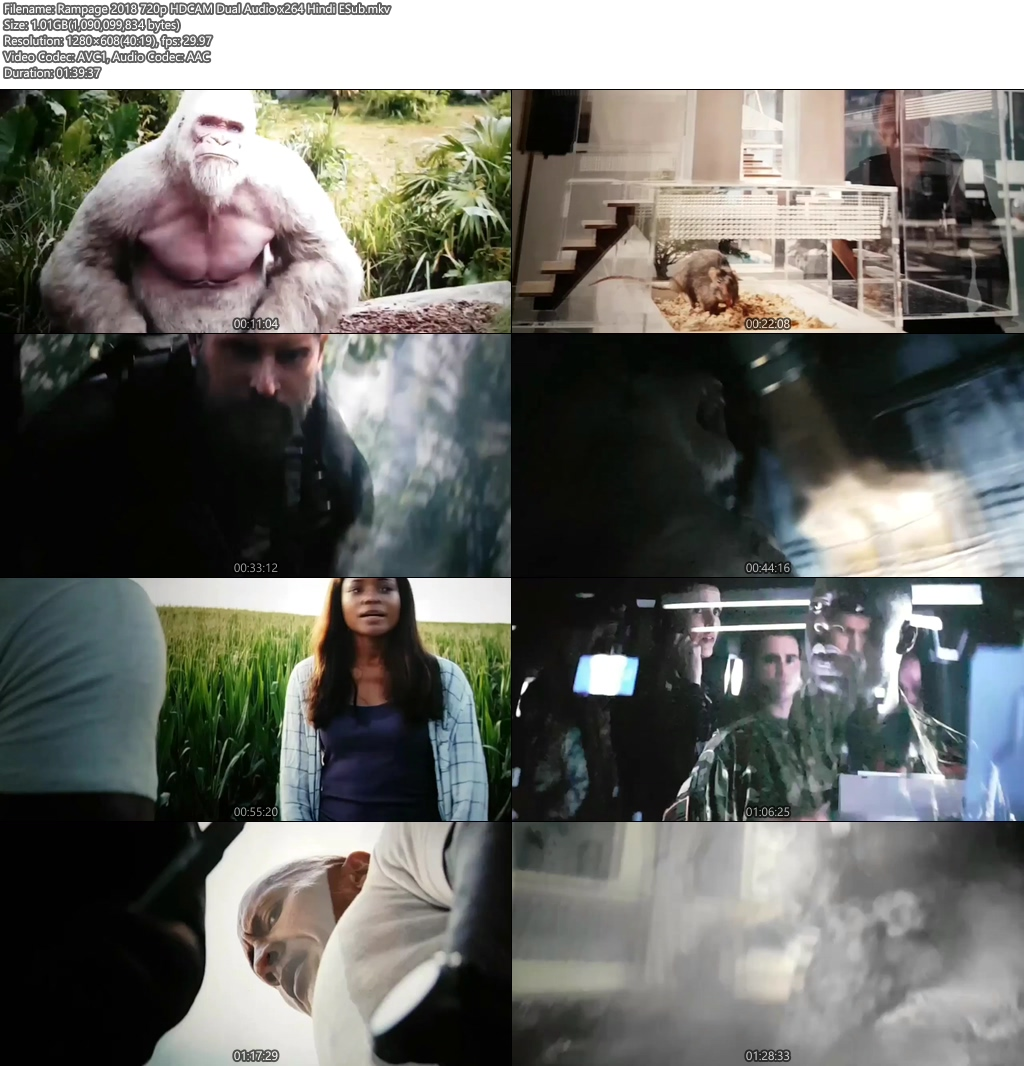 Rampage 2018 720p HDCAM Dual Audio x264 Hindi ESub | 480p | HEVC Screenshot