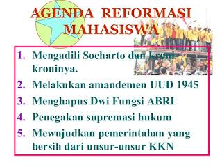 Sebutkan dan Jelaskan 6 Agenda Reformasi 1998 Yang Disuarakan Mahasiswa